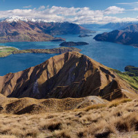 Panoramic view of Lake Wanaka and the Southern Alps, as seen from Roys Peak, near the town of Wanaka - November.